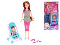 Bábika kĺbová 29 cm s dievčatkom v kočíku a doplnky - mix variantov či farieb