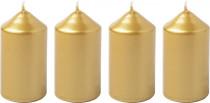 Svíčka adventní 40x75 mm - metalická zlatá - 4 ks