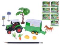 Traktor s vlečkou 20 cm 1:43 kov zpětný chod s doplňky - mix variant či barev