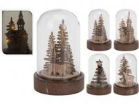 dekorácie LED vianočné 9cm sklo / drevo prírodný - mix variantov či farieb