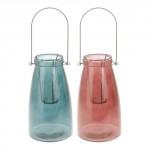 lampáš na sviečku 15x26,5cm sklo + kov - mix farieb