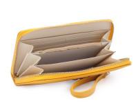 Dámska peňaženka na zips s remienkom na zápästie a zlatú mašličkou, eko kože, okrová