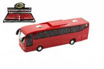 Autobus červený plast 23cm na zotrvačník na batérie so zvukom so svetlom