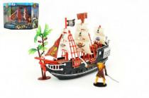Pirátska loď s doplnkami plast 25cm