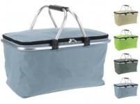 košík nákupné skladacie obdĺžnikový 48x28x24cm Al + polyester - mix farieb