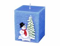 Svíčka SNĚHULÁK S ČEPICÍ HRANOL vánoční 6x6x7cm