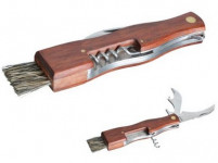 nôž na huby zatvárací so štetčekom + otvárače, drevená rukoväť