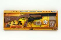 Kovbojská sada kolt pištole puška Klapač + šerifská hviezda s doplnkami 50cm plast
