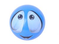 Míč smajlík modrý 22cm
