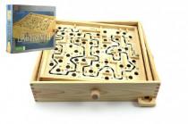 Labyrint s kuličkou hlavolam dřevo 32,5cm