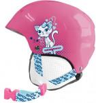 Spokey AURORA detská lyžiarska prilba ružová s mačičkou, veľ. XS