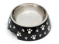 Melamínová miska pre psov a mačky, dvojdielna, protišmyková, motív labka, Domestic