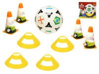 Futbalové kužele 18 cm 4 ks s loptou 23 cm + méty 4 ks