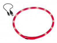 Obojok plast svietiaci - červený, dobíjanie USB Nobby 70 cm