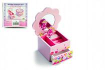 Skrinka šperkovnica Princess drevo hrajúci kvetina zásuvka