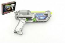 Pistole laserová plast 22cm na baterie se zvukem a se světlem