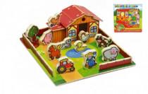 Domček drevená farma Moje prvé zvieratká 31x31cm 28ks + podložka v krabici MPZ
