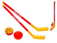 Hokejka pozemní 2ks plast 75cm + florbalový míček + puk