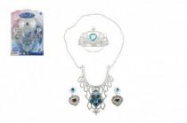 Sada princezna korunka+náhrdelník+náušnice plast na kartě 18x25cm - mix variant či barev