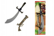 Meč/Šavle pirátská + pistole klapací plast 58cm