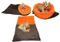 Spací pytel 3v1 pes,kočka č.41 tm. šedá/oranžová