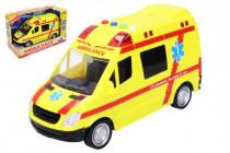 Auto ambulance záchranáři plast 21cm na baterie se světlem a zvukem