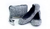 Skladacie topánky do kabelky Leopard