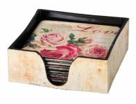 Krabička s podtácky LOVE 11x11x4cm 6ks