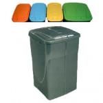 koš na tříděný odpad výklopný 45l čtvercový plastový - mix barev