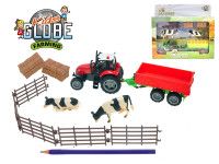 Sada farma traktor 10cm s vlekem na setrvačník na baterie se světlem se zvukem - mix variant či barev