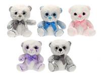Medvedík plyšový 26 cm sediaci s mašľou - mix farieb