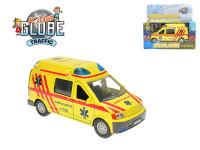 Auto ambulance kov 14cm na zpětné natažení na baterie 3xLR41 se zvukem se světlem