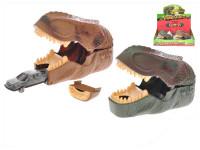 Dino set - vystřelovací dinosauří hlava 14 cm + auto kov 7 cm volný chod - mix barev