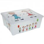 box úložný 43x36x16cm s vekom plastový, detský