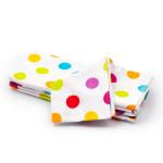 Detská plienka 70x80 cm, bavlnená flanelová, biela s farebnými kolieskami, 5 ks, Cuculi