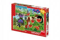 Dino puzzle Krtko a paraplíčko 3x55D