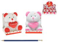Medvídek plyšový 9 cm se srdíčkem sedící v krabičce - mix barev