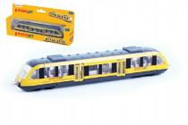 Vlak žltý RegioJet kov / plast 17cm na voľný chod
