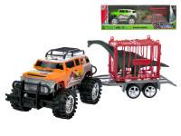 Auto terénne s vozíkom 39 cm na zotrvačník s klietkou a dinosaurom - mix farieb