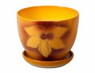 Květník MUCHA SHEET s podmiskou keramický oranžový mat 20cm