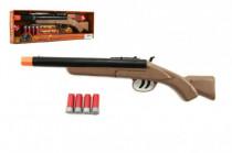 Pistole/Brokovnice lovecká + 4 náboje plast 47cm na baterie se světlem se zvukem