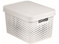 box úložný INFINITY dierovaný 36,3x27x22,2cm s vekom, plastový, bi