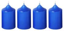 Sviečka adventná 40x60 mm - modrá - 4 ks