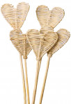 Dekorace - Lata ve tvaru srdce na tyčce - přírodní 2 ks
