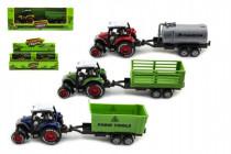Traktor s vlečkou plast / kov 17cm na spätný chod - mix variantov či farieb