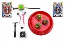 Vrtuľky Spintop 4ks Stormgyro točiace + aréna + štartér plast na karte - mix farieb