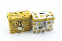 Pokladnička smajlík truhla plech se zámkem 9x8cm - mix variant či barev