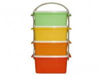 obedár 3x1,2l + 1x1,4l hranatý 17x15x26cm plastový - mix farieb