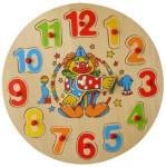 Vkládačka dřevná - hodiny klaun,zajíc