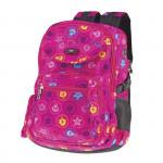 Easy flow 837981 Batoh školní tříkomorový růžový s barevným potiskem, profilovaná záda, 26 l